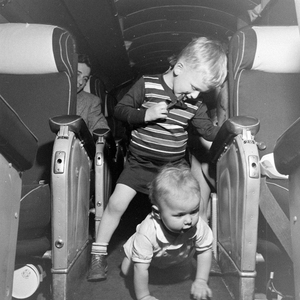 Children Playing on Plane